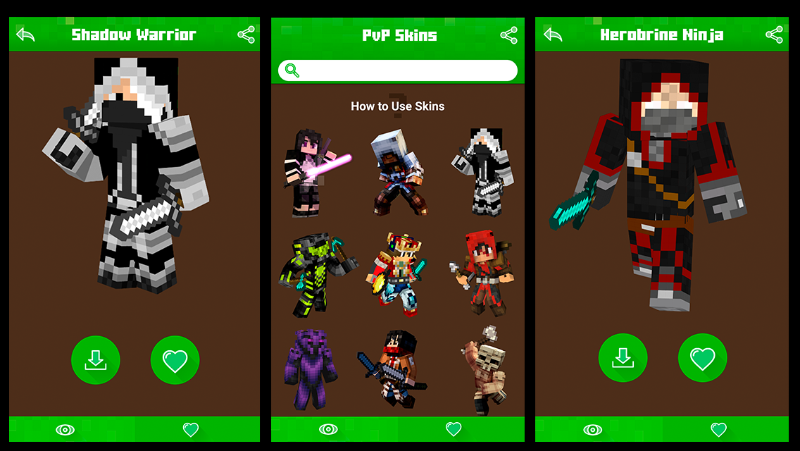 PVP Skin Pack For MCPE APK Download Android Entertainment Apps - Skins fur minecraft herobrine