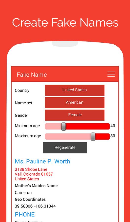 Fake Name Generator 1 03 APK Download - Android Books