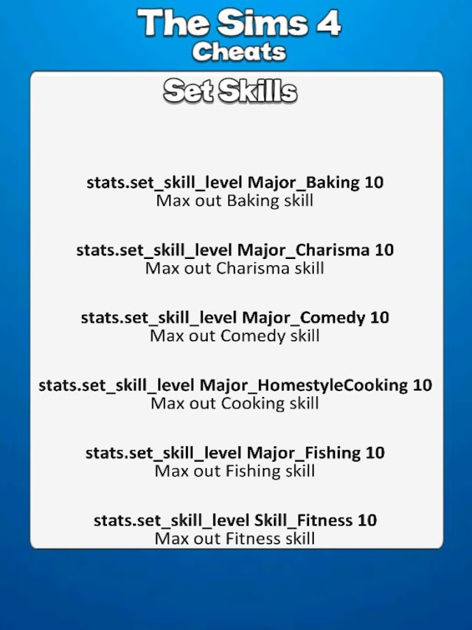 All Sims 4 Cheat Codes 1 2 APK Download - Android