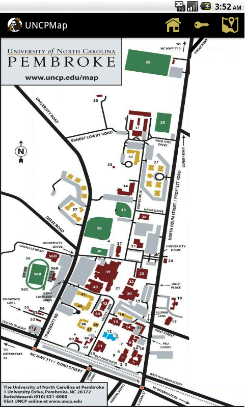 Uncp Campus Map Unc Pembroke Campus Map | Map North East