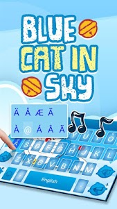 Blue Cat in Sky Theme&Emoji Keyboard 4.5 screenshot 4