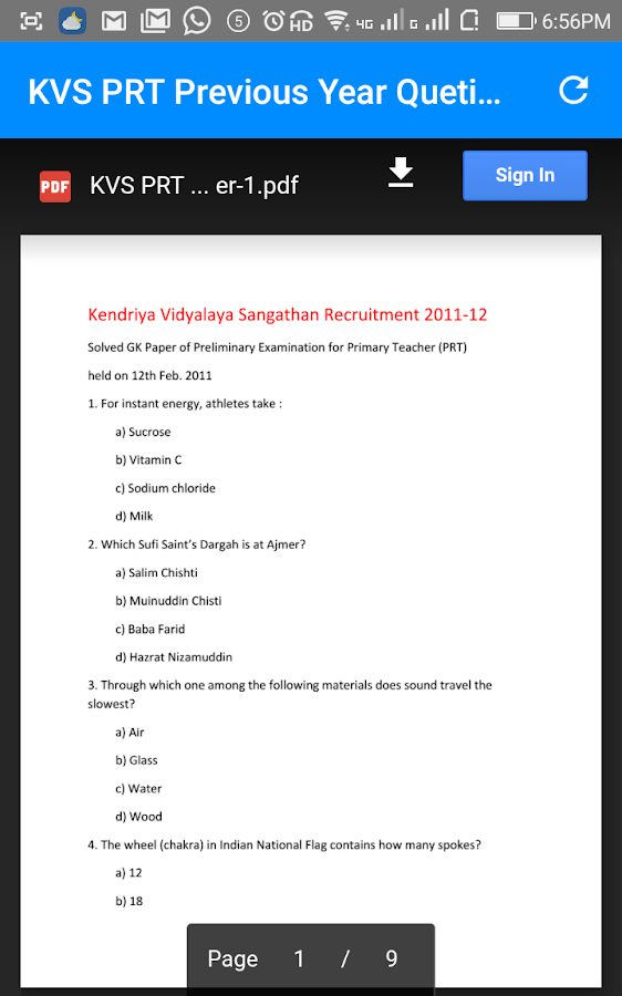 kvs prt previous year question papers pdf download 1 0 apk download