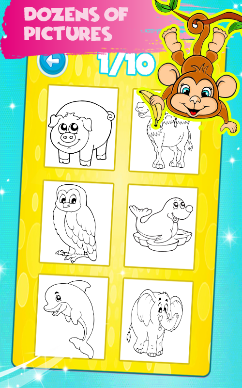 Animals Coloring Book Pages Kids Games 50 Screenshot 2