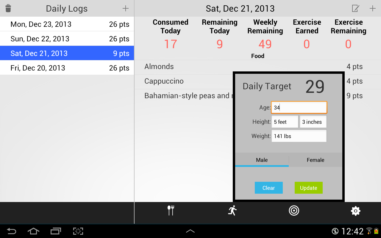 weight watchers calculator app for android