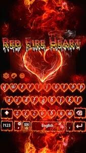 Red Fire Heart Keyboard Theme 10001004 screenshot 2
