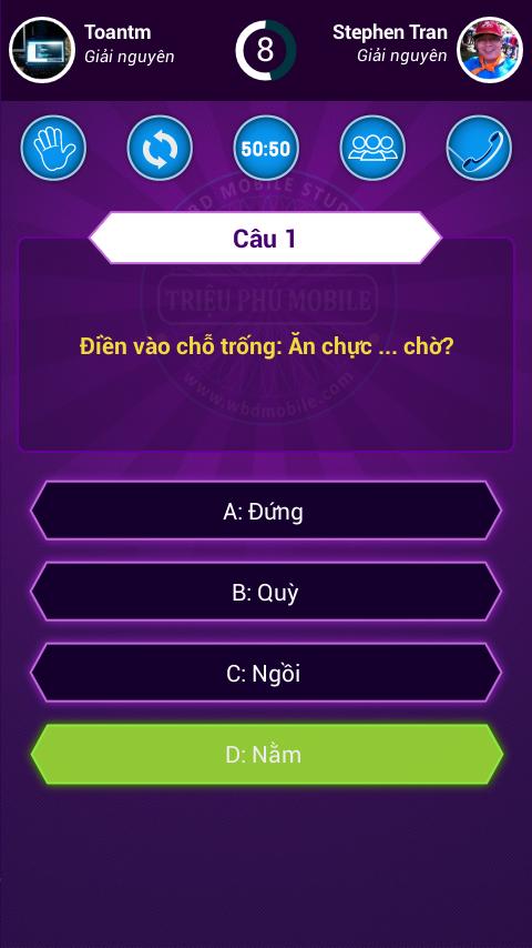 ... Ai Là Triệu Phú 2016 - Zalo 2.4.9.20160716 screenshot 4 ...