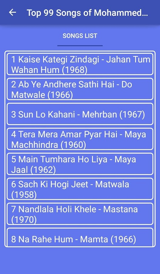 Top 100 Song's Mohammed Rafi 1 0 APK Download - Android