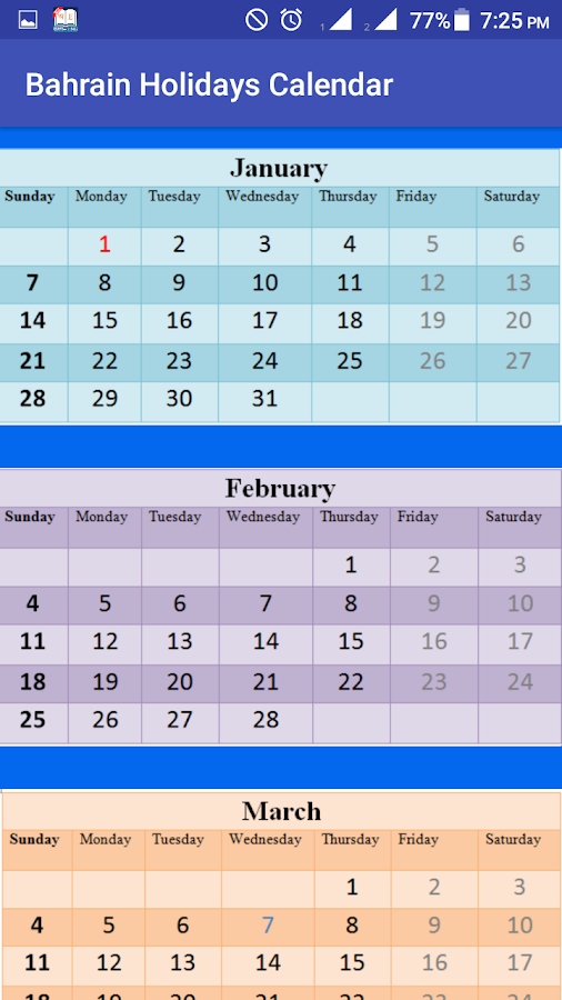 Bahrain Holidays Calendar 18 8 9 APK Download - Android cats