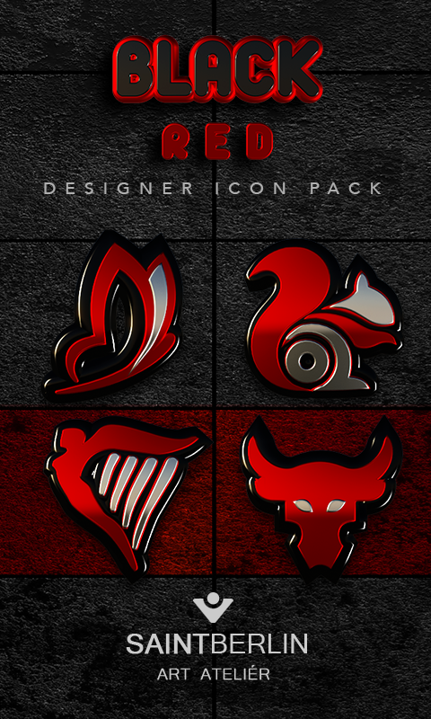 Black Red HD Icon Pack 1 9 APK Download - Android Personalization Apps