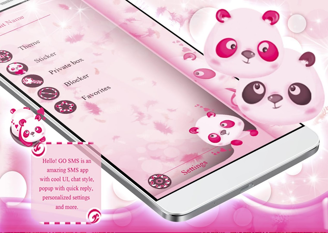 pink pandas sms theme 1.277.1.201 apk download - android