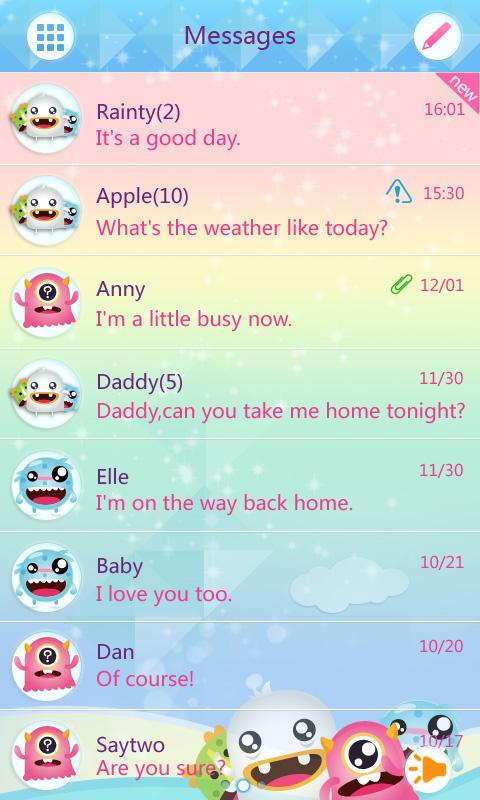 go sms pro cutemonster themeex 1 0 apk download android