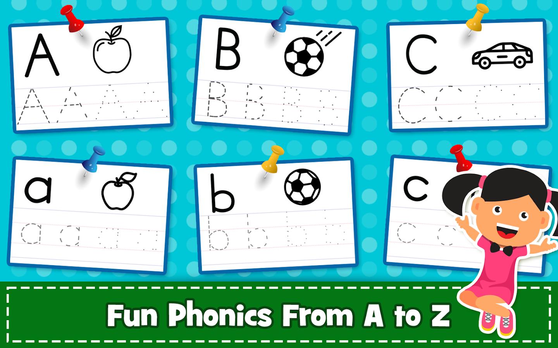 Modern Alphabet Tracing Worksheet Kids English Worksheets Cartoon ...
