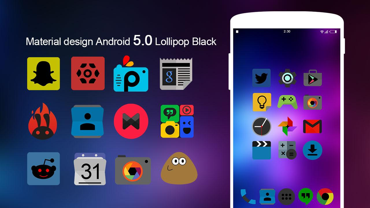 KK Lollipop Black Icon Pack 1 3 APK Download - Android