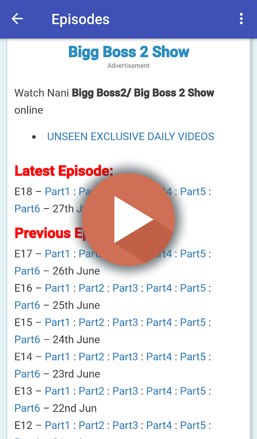 Bigg Boss Telugu 2 -Live Updates | Episodes | Vote 1 1 APK Download