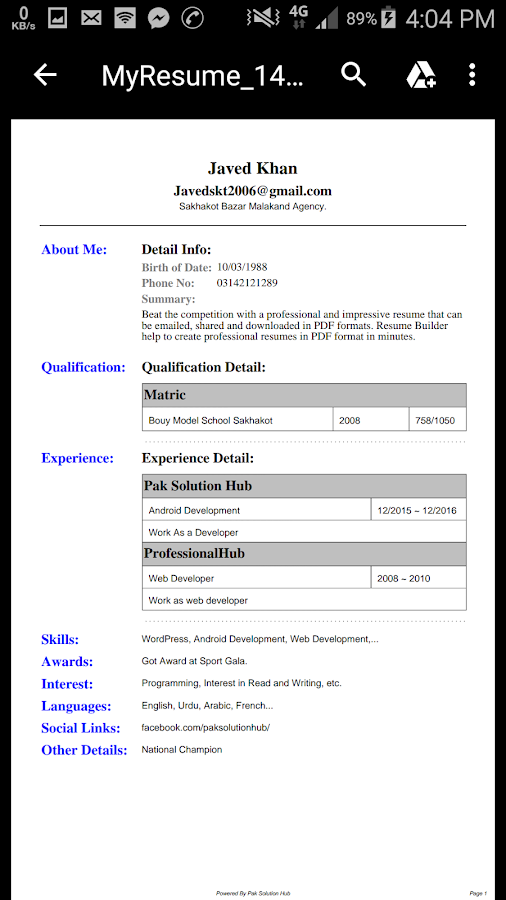 my resume best cv builder 113 screenshot 6 - My Resume Cv Builder