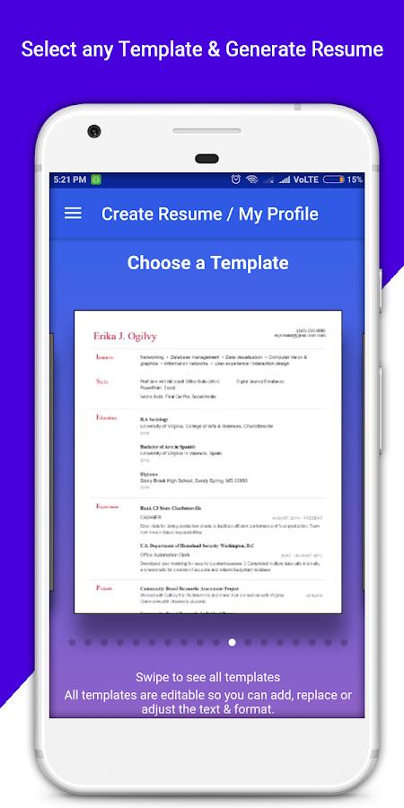 resume builder pro 3 min free cv maker templates 3 4 apk download