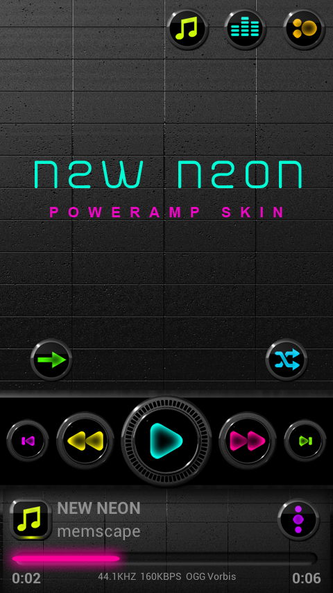 NEW NEON Poweramp skin 3 08 APK Download - Android Personalization Apps