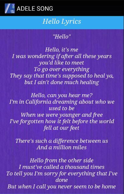 Image Result For Hello Adele Lyrics