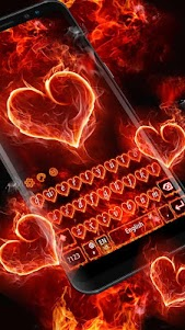 Red Fire Heart Keyboard Theme 10001004 screenshot 8