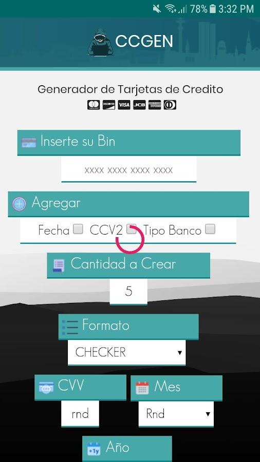 Generador de Tarjetas de Credito - CCGEN 8 2 APK Download