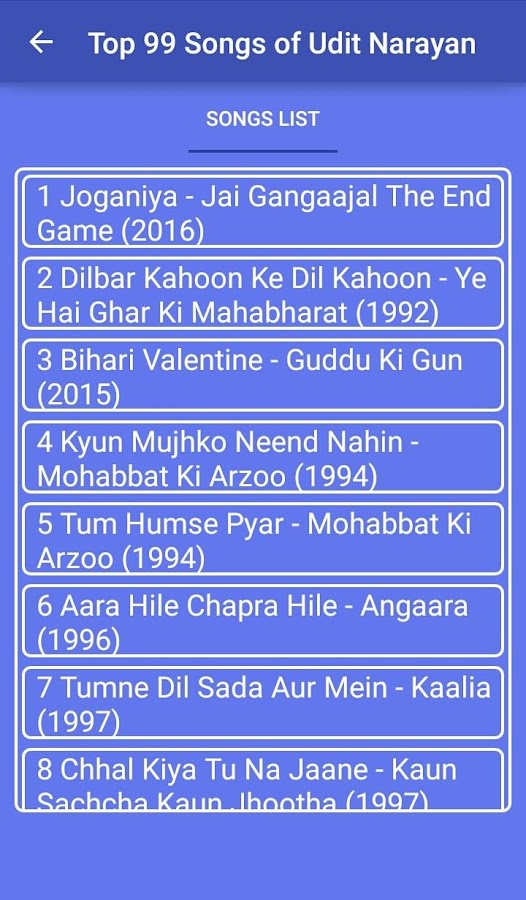 Top 99 Songs of Udit Narayan 1 0 APK Download - Android