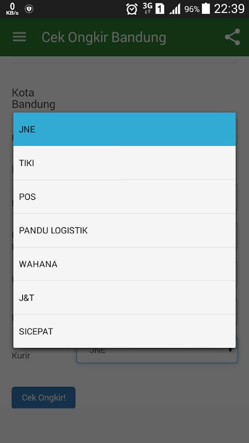 Cek Ongkir Bandung  Screenshot