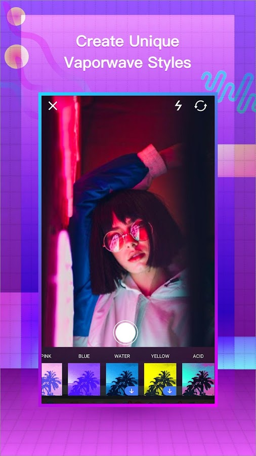 VaporCam-Glitch, Aesthetic, Vaporwave Photo Editor 1 9 4 APK