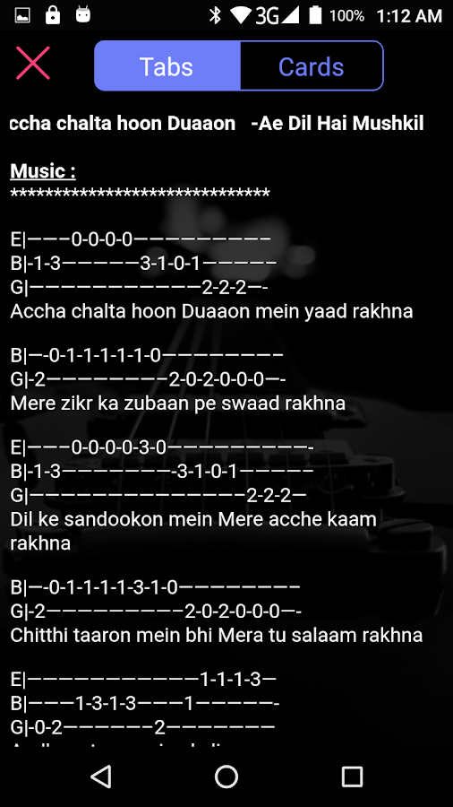 Guitar Tabs & Chords Bollywood Songs (Hindi) 1.2.2 APK Download ...