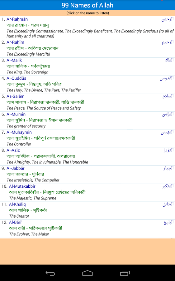 99 Name Of Allah With Bangla Meaning Pdf