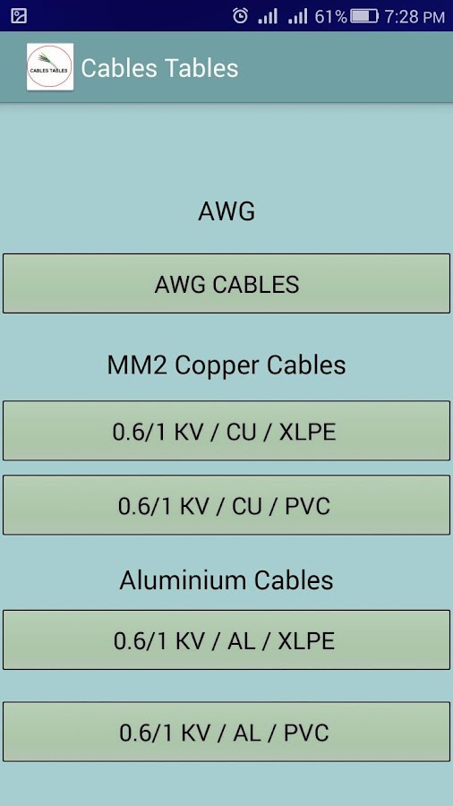 Electrical Cable Table: electricians app 1.3.6 APK Download ...
