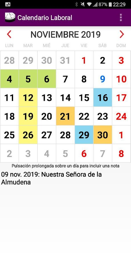 Calendario Laboral Espana.Calendario Laboral Espana Con Festivos 2019 4 0 Apk Download