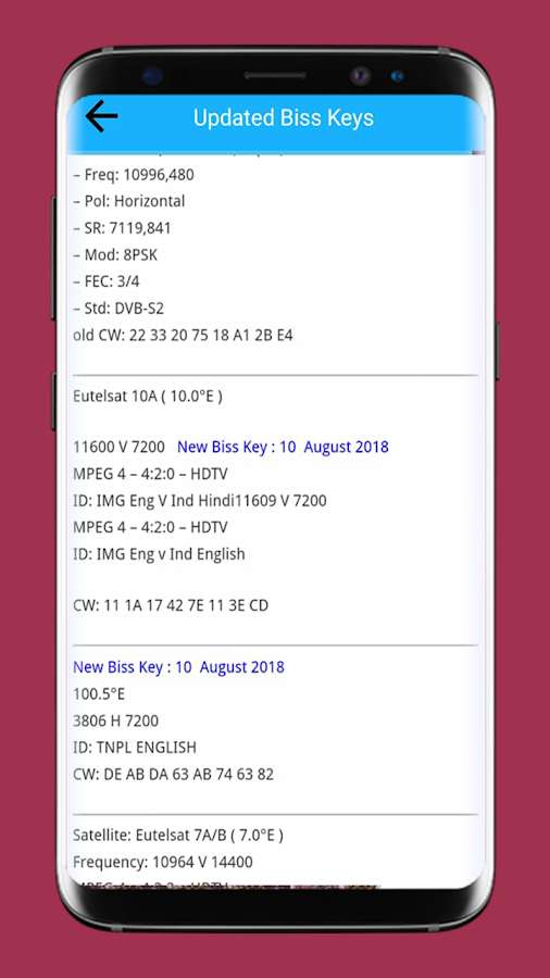 Satellite Frequency Biss key & PowerVU 1 0 APK Download - Android