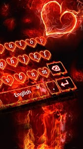 Red Fire Heart Keyboard Theme 10001004 screenshot 5