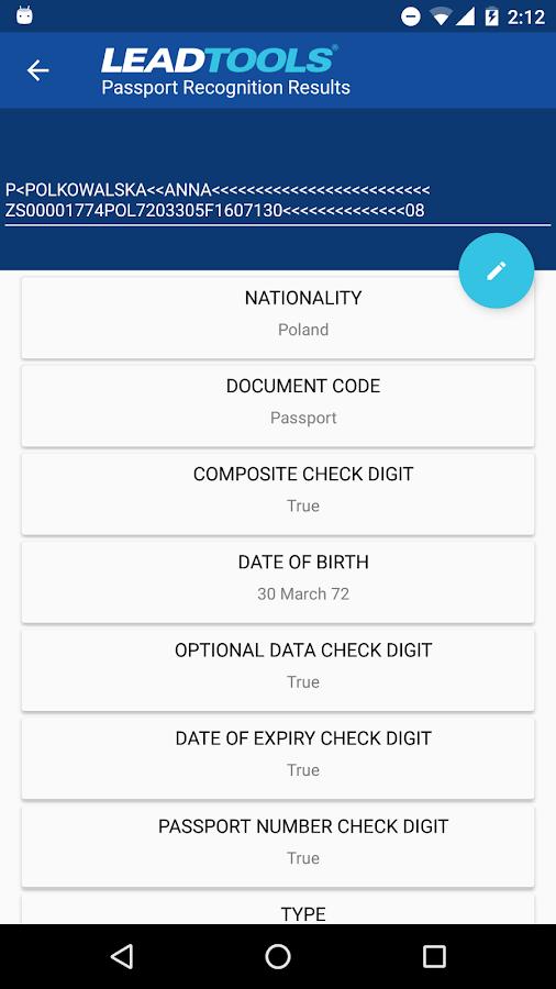 LEADTOOLS MRZ Passport Scanner APK Download - Android Tools Apps