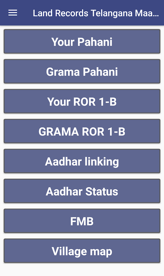 Telangana Adangal Pahani & ROR Land Records 1 8 APK Download