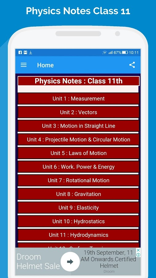 Physics notes for class 11 1 0 0 APK Download - Android