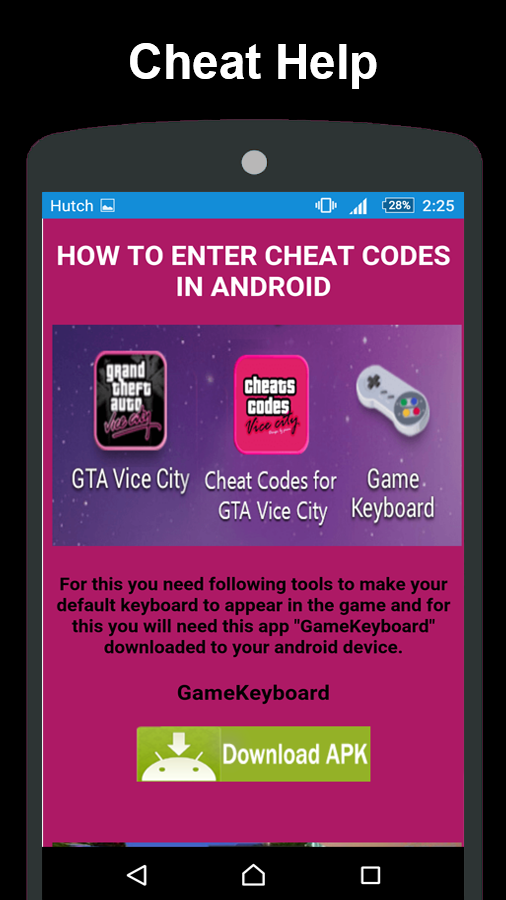 Cheat Codes for GTA Vice City 1 0 6 APK Download - Android
