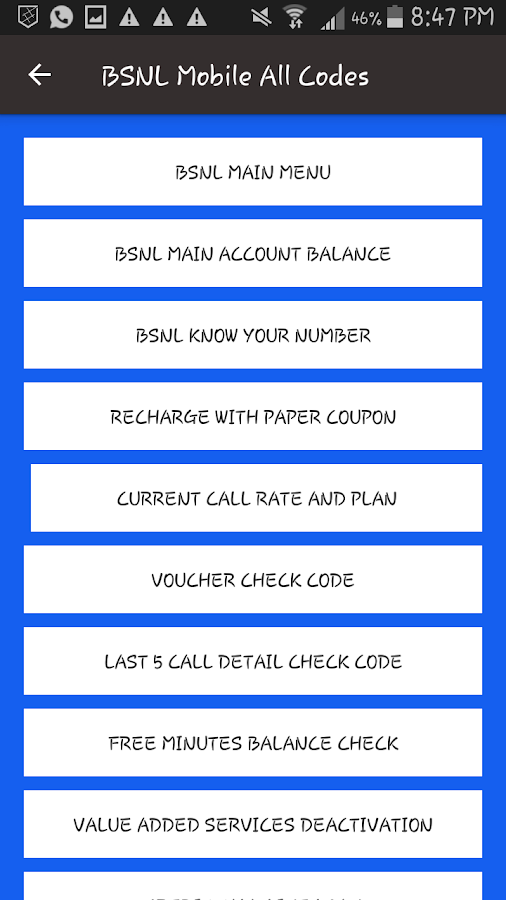 BSNL Mobile All Codes 1 0 APK Download - Android Tools Apps