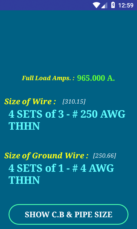 NEC Conductor Size Calc FULL 1.0.6 APK Download - Android Tools Apps