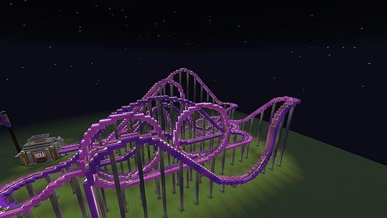 minecraft building a roller coaster