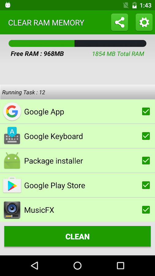 how to clear ram memory in android