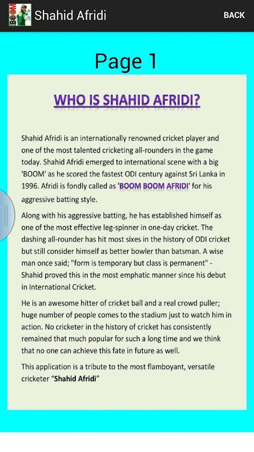 Shahid Afridi - Boom Boom 1 2 APK Download - Android Sports