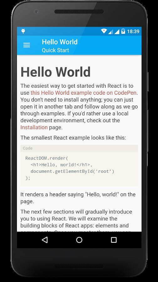 React js Offline Documentation 1 3 APK Download - Android
