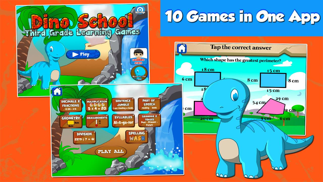 Third Grade Games with Dino 3.00 APK Download - Android Educational ...