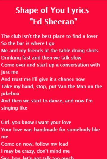 Shape of You Lyrics Ed Sheeran 1 0 APK Download - Android Music