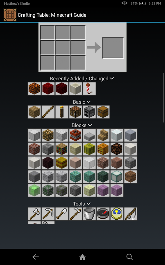 Crafting table minecraft guide apk download android - Minecraft crafting table recipes list ...