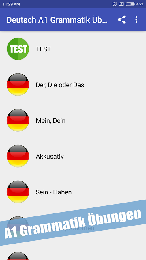 German A1 Grammar Exercises 1.3 APK Download - Android Education Apps
