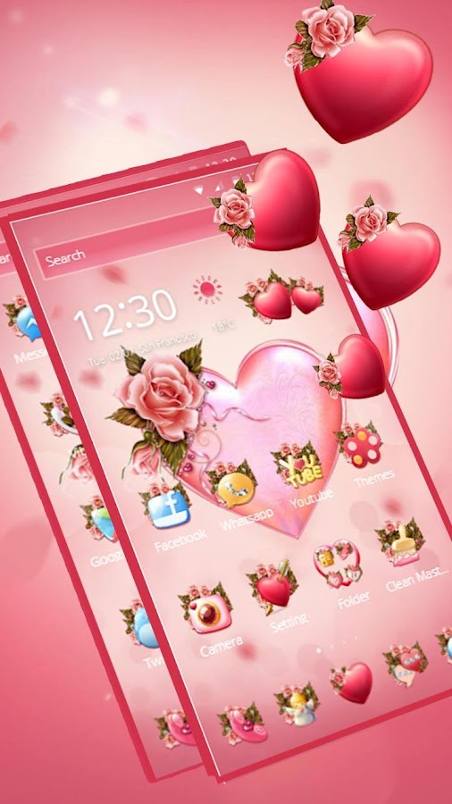 Flower Pink Love Theme 1 1 29 APK Download - Android Personalization