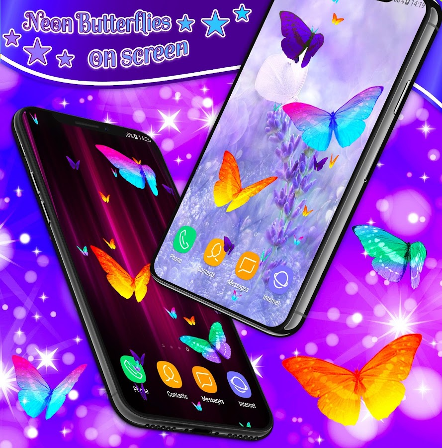 Neon Butterflies On Screen  Apk Download Android Entertainment Apps
