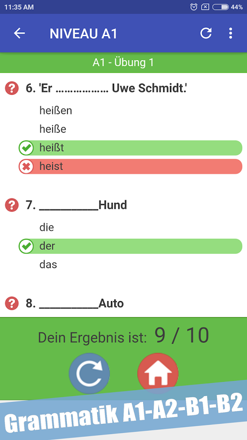 Test zur Deutsch Grammatik A1-A2-B1-B2 1.3 APK Download - Android ...